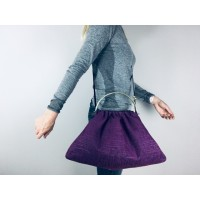 Budleigh bag - Purple slubby retro