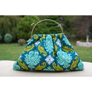 Budleigh bag - Green damask