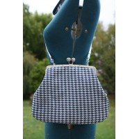 Hepburn bag - Blue houndstooth