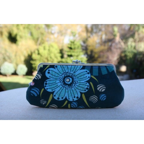 Chloe purse - Velvet floral with deep sea green background