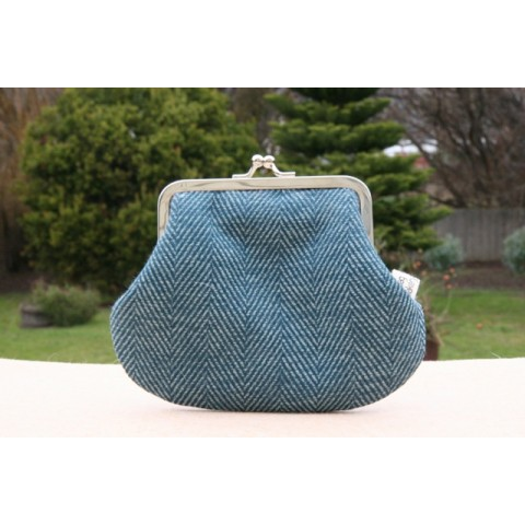 Grace purse - Blue herringbone