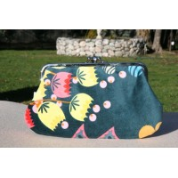Jackie purse - Velvet floral with deep sea green background