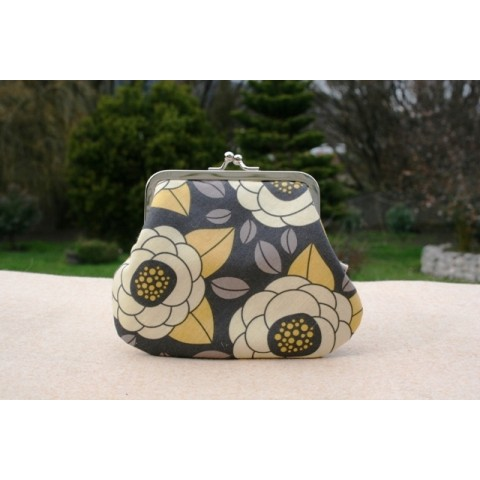 Grace purse - Cream and grey floral