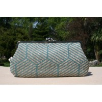 Chloe purse - Teal hexagons
