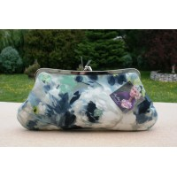 Isabella carry-all clutch - Blue watercolour