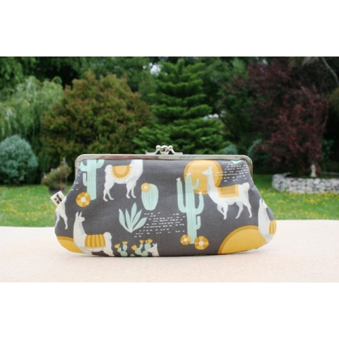 Chloe purse -  Llamas grey and yellow