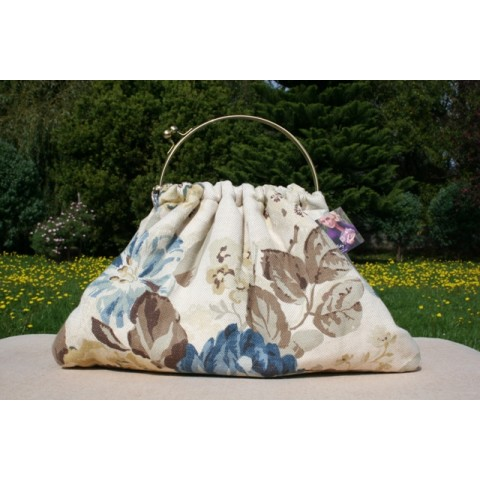 Budleigh bag - Blue and brown woven floral