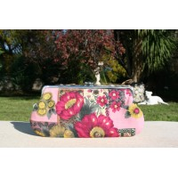 Chloe purse - Pink floral barkcloth with gold accent