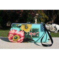 Chloe convertible - Mint green floral barkcloth with gold accent