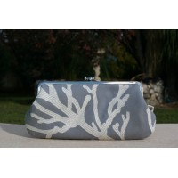 Chloe purse - Gray blue coral and floral half and half