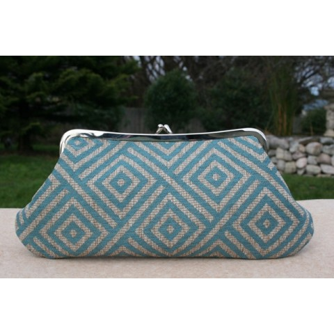 Isabella carry-all clutch - Teal geo