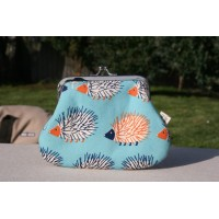 Grace purse - Bright blue hedgehogs