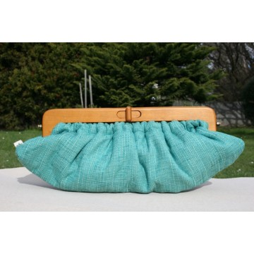 Willow Clutch - Green slubby retro