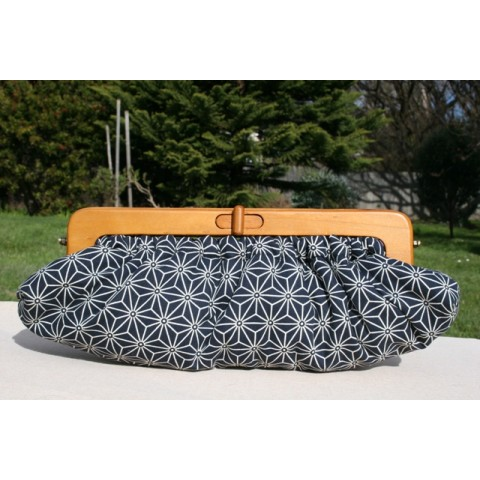 Willow Clutch - Navy geometric
