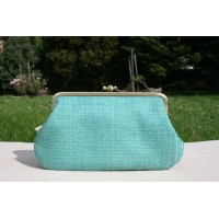 Jackie purse - Green slubby retro
