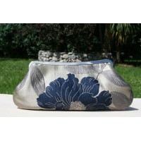 Isabella carry-all clutch - Navy blue and silver shimmer floral
