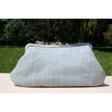 Isabella carry-all clutch - Light grey slubby retro