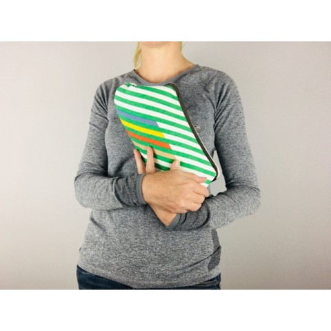 Isabella carry-all clutch - 1980s green stripe