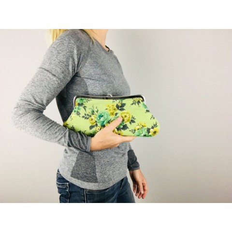 Isabella carry-all clutch -  Green floral barkcloth