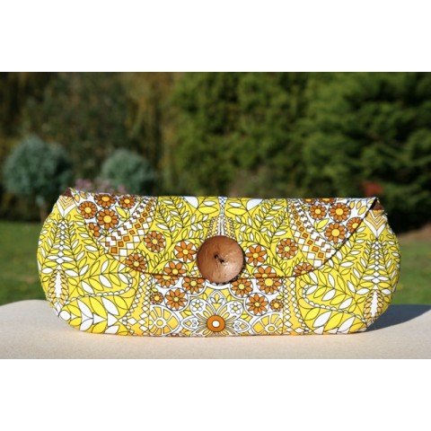 Midcentury - Groovy print extra wide clutch