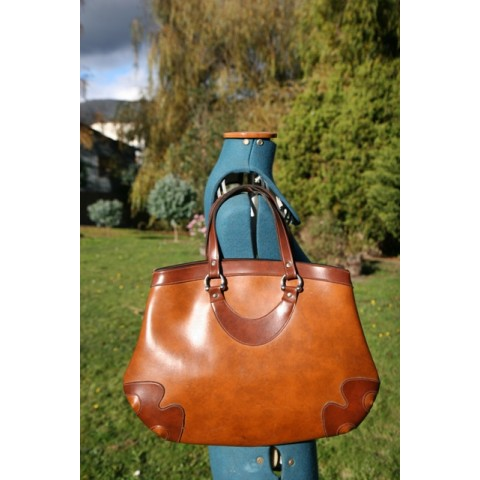 Midcentury - Mottled tan vinyl bag